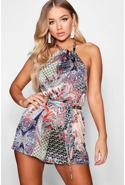 Blue Boho Scarf Print Playsuit