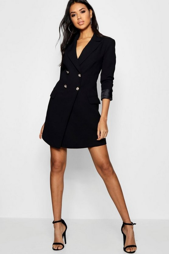 Black Double Breasted Tailored Blazer Dress