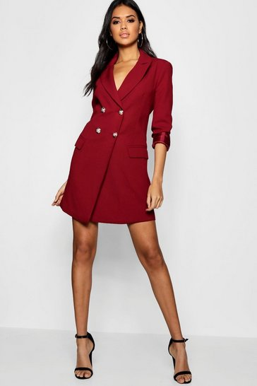 Womens Cranberry Double Breasted Tailored Blazer Dress