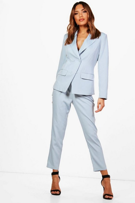 Womens Straight Leg Woven Suit Trouser