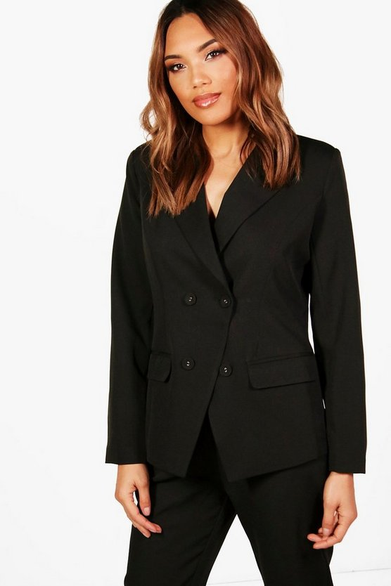 Double Breasted Woven Suit Blazer, Черный, Женские