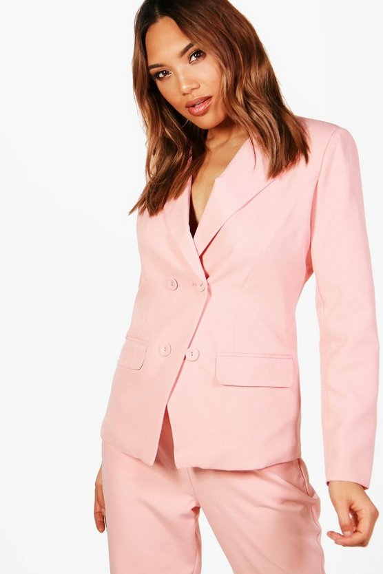 Double Breasted Woven Suit Blazer
