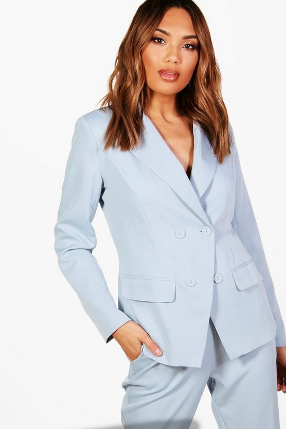 Womens Powder blue Double Breasted Woven Suit Blazer