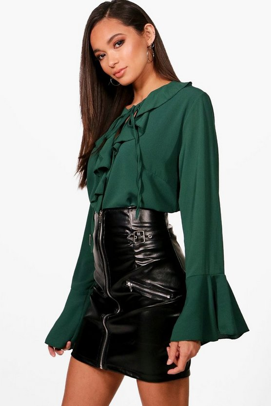Ruffle Tie Front Blouse