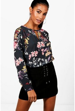 Womens Black Oriental Floral Collarless Print Blouse