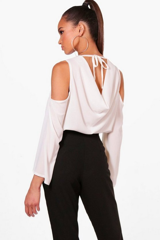 Womens White Cowl Back Cold Shoulder Blouse