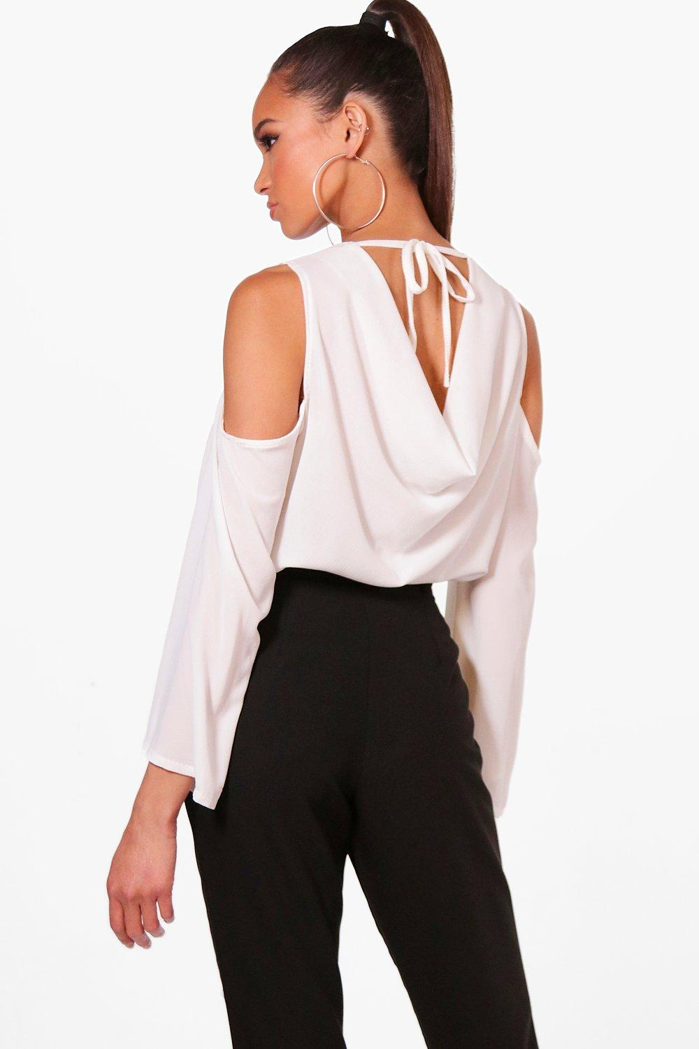 shop for best elegant in style bright in luster Cowl Back Cold Shoulder Blouse | Boohoo
