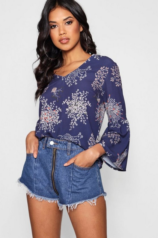 Navy Blossom Print Flared Sleeve Top