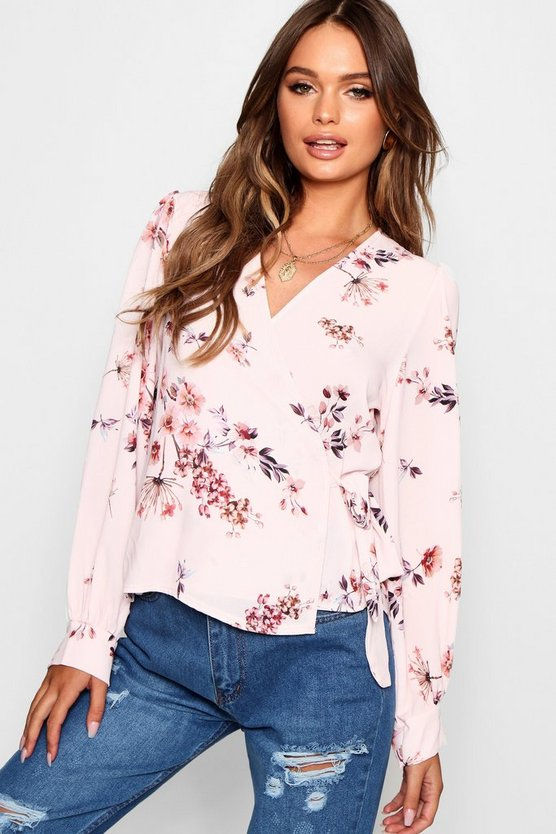 Floral Print Wrap Over Tie Blouse