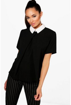 Womens Black Contrast Collar Top