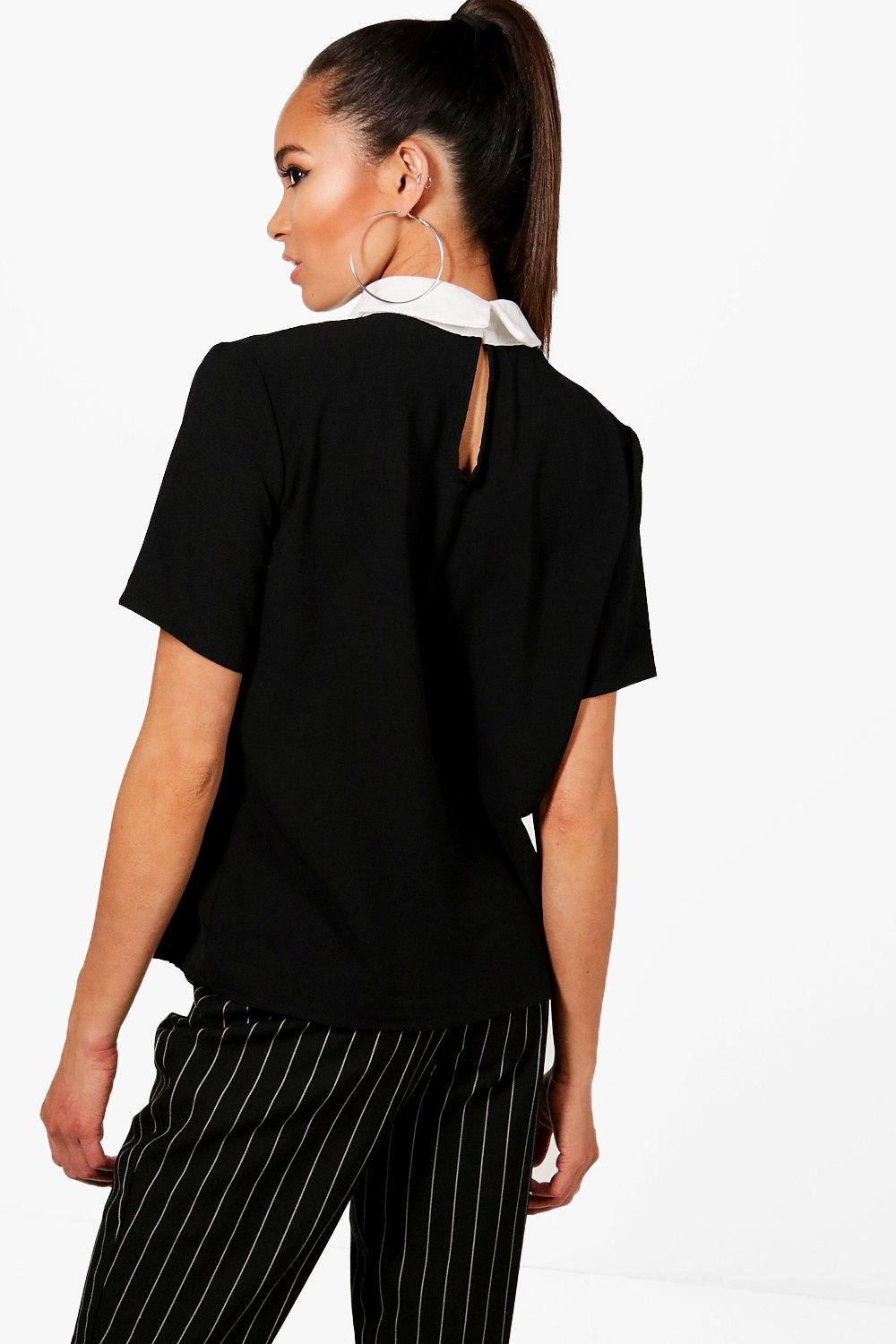 en negro con Top cuello contraste qw6BY7