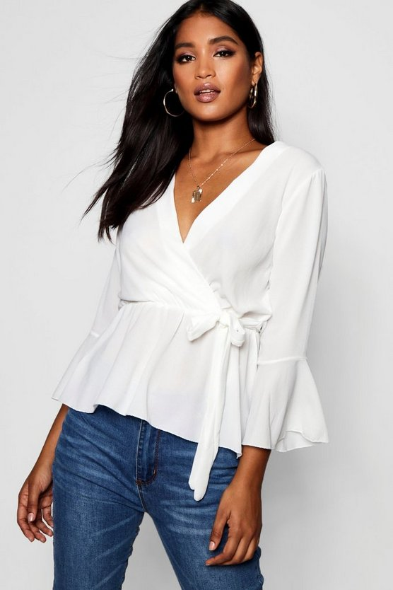 Ivory Wrap Over Tie Blouse