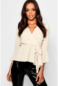 Womens Stone Wrap Over Tie Blouse
