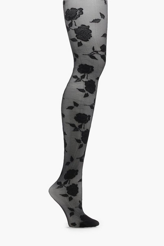 Kelly Floral Pattern Sheer Denier Tights