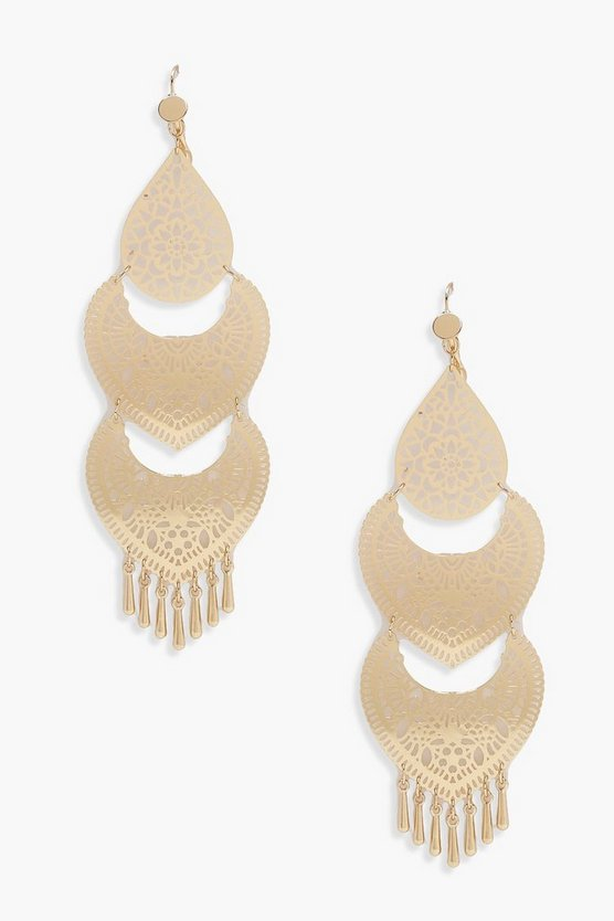 Three Tier Boho Chandelier Earrings