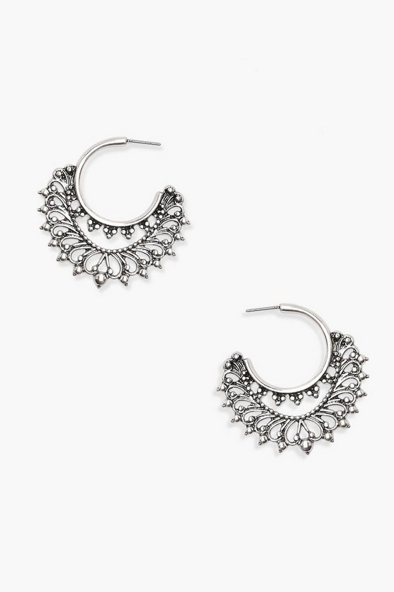 Womens Pewter Boho Hoop Earrings