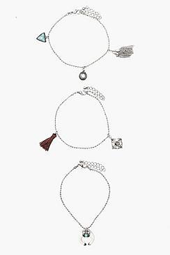Laura Horn & Tassel Trinket Bracelets 3pk