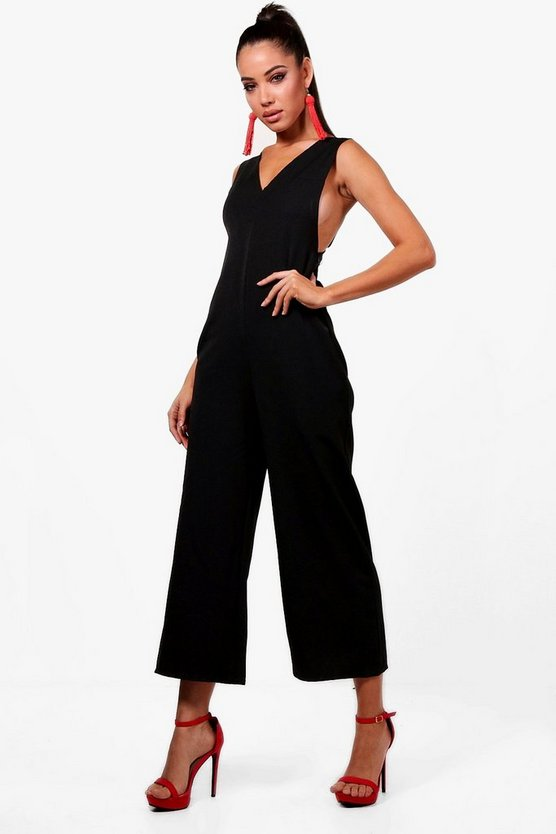 Womens Black Pinafore Jumpsuit