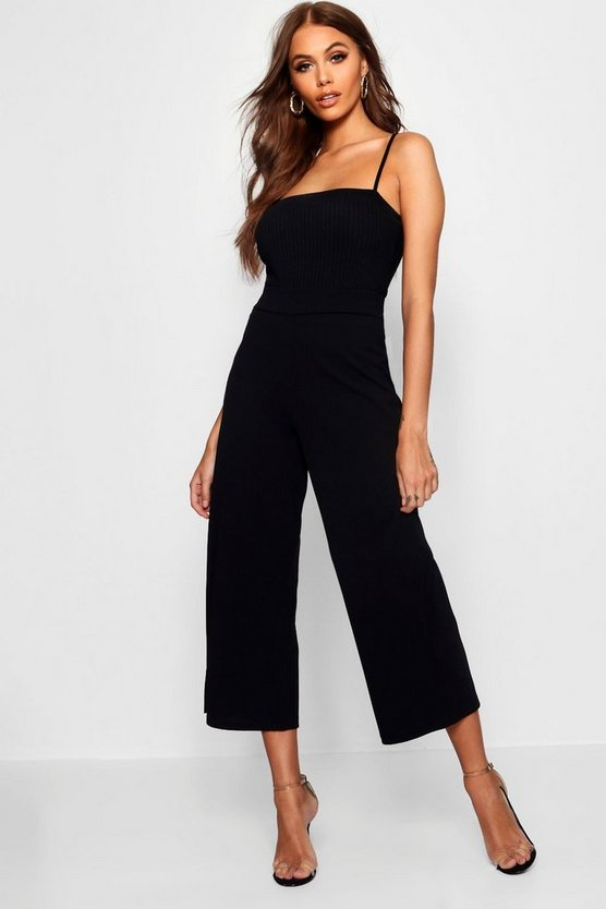 Womens Black Wide Leg Culottes