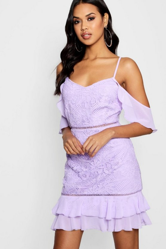 Boutique  Lace Ruffle Mini Dress