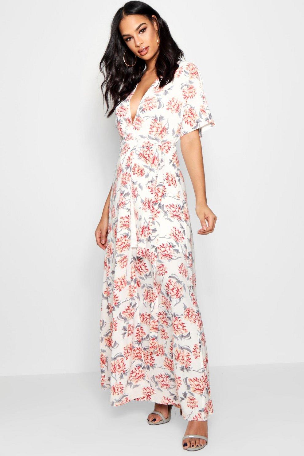 a4dcee956df9 Boutique Floral Kimono Sleeve Maxi Dress