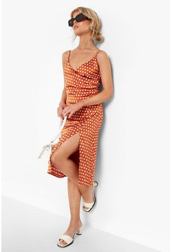 Burnt orange Boutique  Satin Polka Dot Wrap Slip Dress