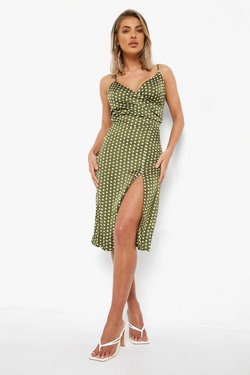 Womens Khaki Boutique  Satin Polka Dot Wrap Slip Dress
