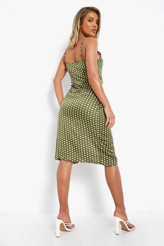 Boutique  Satin Polka Dot Wrap Slip Dress