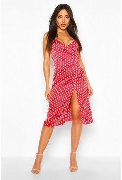 Red Boutique  Satin Polka Dot Wrap Slip Dress