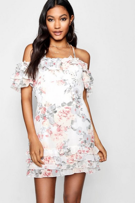 Boutique Cold Shoulder Floral Mini Dress