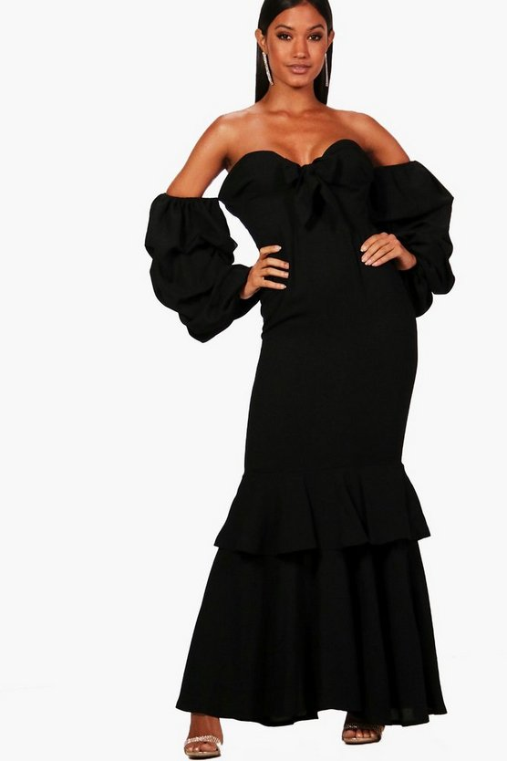 Womens Black Boutique  Ruched Sleeve Frill Maxi Dress