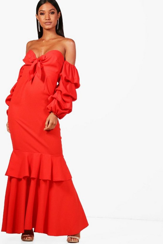 Boutique  Ruched Sleeve Frill Maxi Dress