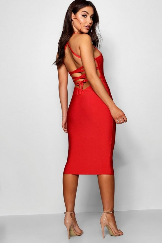 Premium Bandage Strappy Back Midi Dress