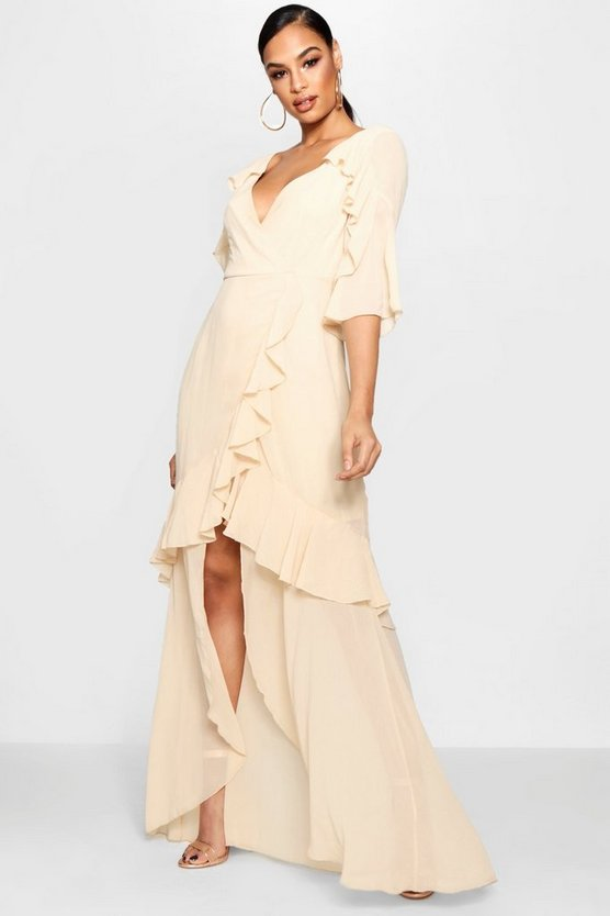 Womens Nude Chiffon Ruffle Maxi Dress