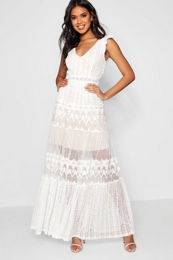 Womens Ivory Boutique  Lace Panelled Detail Maxi Dress