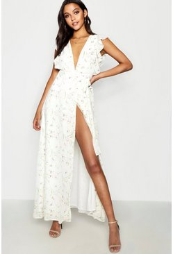Ivory Floral Frill Detail Wrap Maxi Dress
