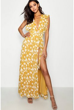 Floral Frill Detail Wrap Maxi Dress, Yellow