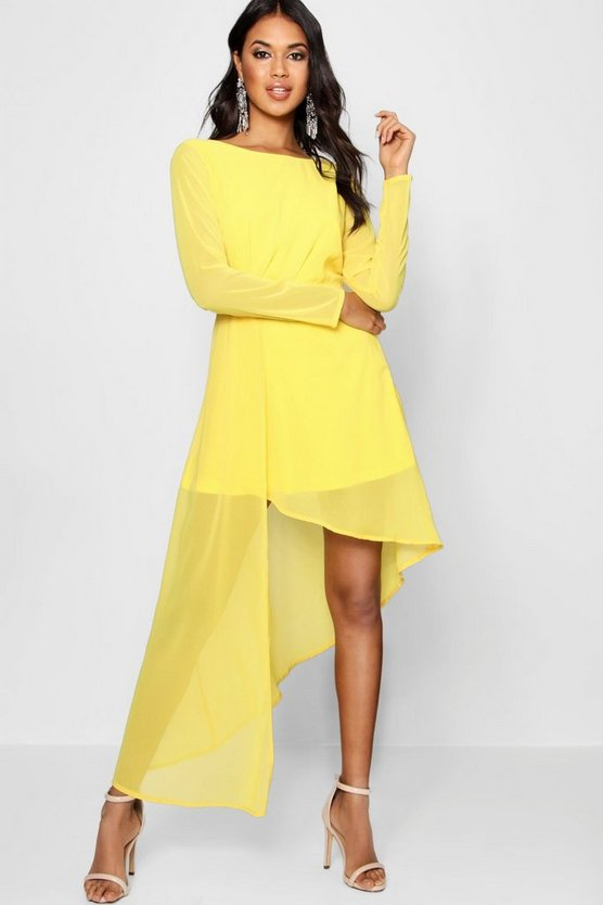 Boutique Chiffon Drape Fitted Dress
