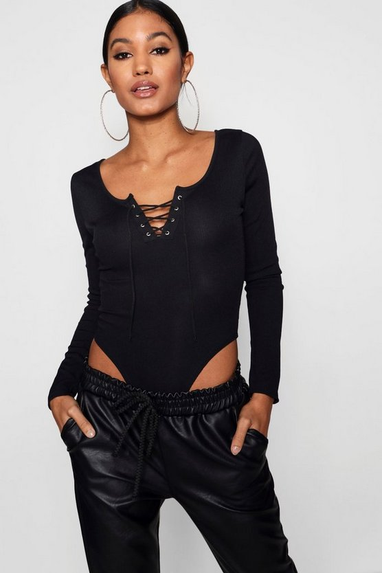 Womens Rib High Rise Hook + Eye Bodysuit