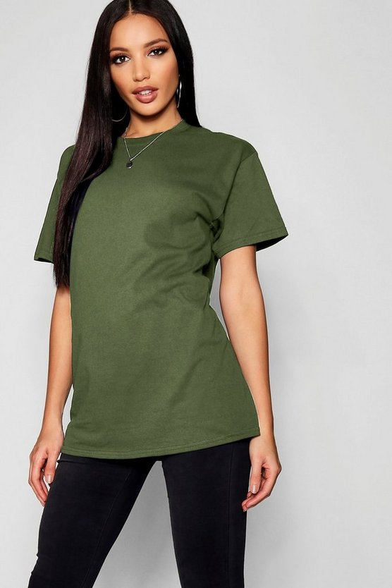 Womens Khaki Basic Oversized Boyfriend T-shirt