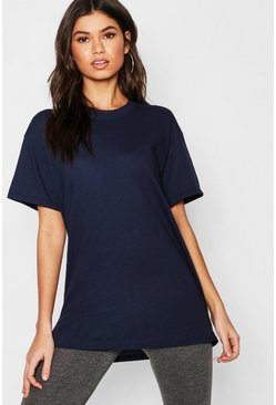 Navy Basic Oversized Boyfriend T-shirt