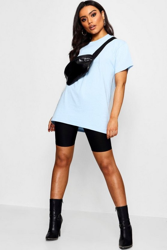 Womens Powder blue Basic Oversized Boyfriend T-shirt