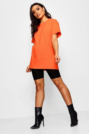 Womens Tangerine Basic Oversized Boyfriend T-shirt