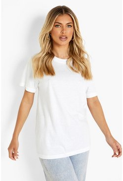 Basic Oversized Boyfriend T-shirt, White, Donna