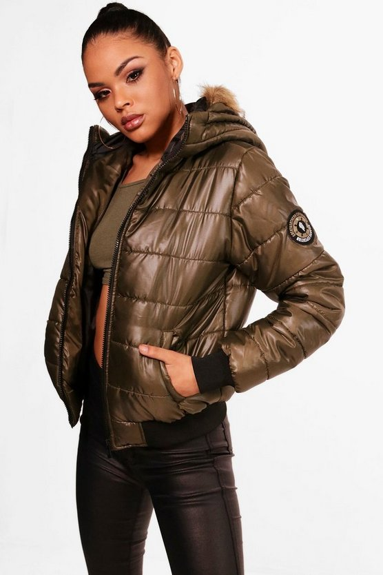 Womens Khaki Faux Fur Hood Bubble Coat