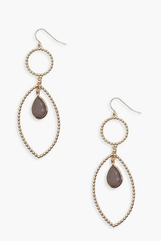 Lucy Layered Teardrop Hoop & Stone Earrings