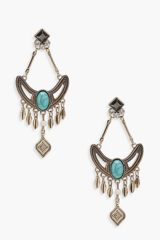 Kelsey Turquoise Stone Chandelier Earrings