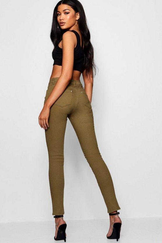 Mid Rise Distressed Knee Skinny Jeans