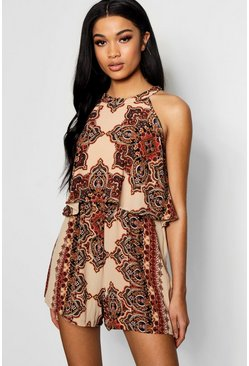 Womens Brown Bohemian Print Lace Up Back Playsuit