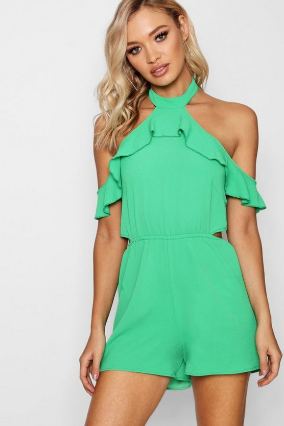 Ruffle Open Shoulder Playsuit